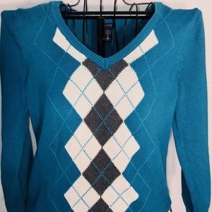 Izod Lesley XL  Argyle diamond woman's  Sweater
